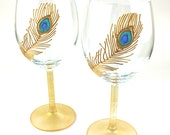 Wine Glasses, Peacock Feather Design, Wedding Glasses, Toasting Glasses,  Anniversary glasses,  Hand painted, Set of 2, Ready to Ship