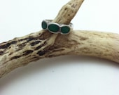 1970's Old Pawn Crushed Green Turquoise Sterling Silver