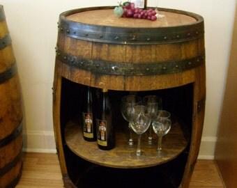 Aged White Oak Barrel Cabinet-FREE SHIPPING