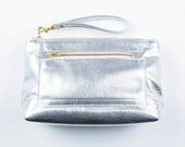 MIRA Leather Clutch in Foil Silver. Large Leather Makeup Case. Silver Clutch