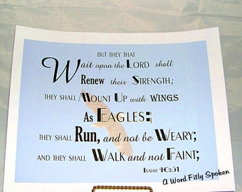 "CLEARANCE 8x10 Bible Verse Fabric Patch ""They That Wait Upon the Lord"" Isaiah 40:31 Large Sew-in Quilt Block Christian Home Decor FB-997"