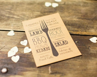 Illustrated Printable Wedding Menu, Rustic Wedding, Kraft Wedding Menu, Rehearsal Dinner Menu, Hand drawn Program, Dinner Menu