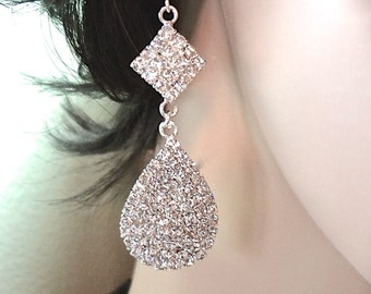 Long crystal rhinestone earrings ~ Large Teardrops ~ Statement earrings ~ Bridal jewelry ~ Prom ~ Bridesmaids ~ Bling ~