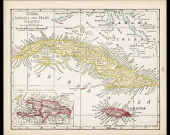 Small Cuba Map Of Jamaica Haiti Antique Wall Decor Color