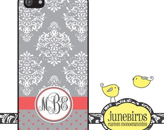 Personalized Iphone 4/4S and Iphone 5 Cell Phone Case - Damask with Gray and Coral