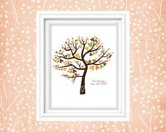 Family Tree Art Print Wedding Gift Anniversary Date Personalized Keepsake Love Birds Custom Colors 11x14 Print
