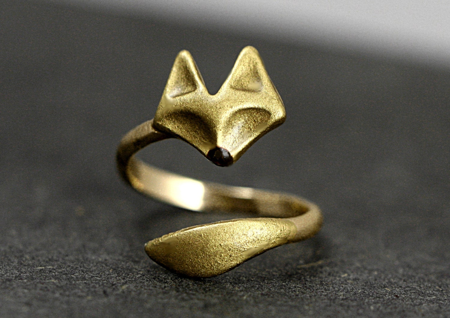Hand Gilded Wrap Fox Ring Adjustable Brass Ring With Hand