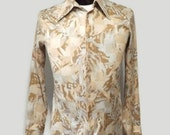 Mens 70s Disco Button Up Shirt Pointy Collar By John Palmer Size M Silky Checkered Koi Carp Goldfish Fish Shirt
