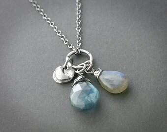 Teal Moss Aquamarine Necklace Blue Flash Labradorite Moon Charm Artisan Jewelry