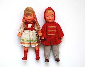 Antique 1930's Dolls, Miniature Gift Ideas, Eastern European Plastic Dolls, Christmas Gift For Daughter, Antique Toy Doll - Free Shipping