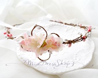 SUMMER CLEARANCE SALE  - Grecian Pale Pink Rose Flower Crown,Flower Wreath,Rustic Wedding,Boho Headpiece,Hair Accessories,Bohemian
