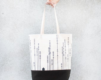 Rustic Tote - Organic Cotton Canvas/Moleskin and Natural Leather Strap