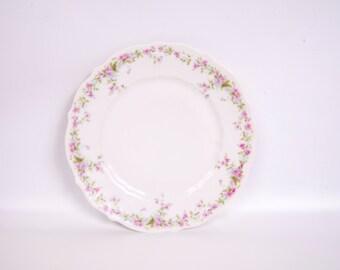 Antique German Plate Pink Floral Dessert Plate CT Altwasser 1845 Marking Hand Painted