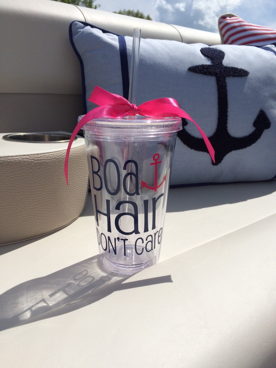 Boat Hair Don T Care Cup Tumbler Funny Cute Cup Acrylic
