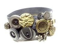 Grey Cat Button Zipper Bracelet Silver Charm Original