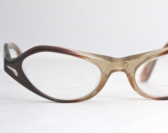 Vintage 50's Brown Brown Fade Cat Eyeglasses Sunglass Frames