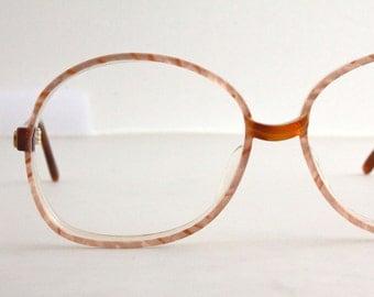 Vintage 80's Oversized Italian Warm Peach Eyeglasses Frames