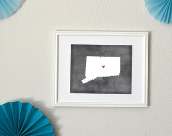 Connecticut Chalkboard State Map Customizable Art Print
