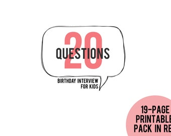 20 Questions Birthday Interview for Kids Printable Pack in RED