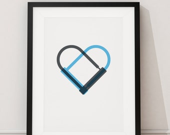 Bike Love Art Print - Two D-Locks creating a heart for the cycle lover available in A4 and A3 sizes