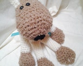 Rescue Pup Soft Crochet Stuffed Animal Tan and Brick Red Dog for Baby all the way up to Teen