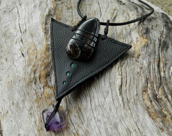 Tiger Iron and Amethyst Jewelry Australian Ethically Sourced Gemstone Pendant