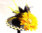 RESERVED for AMANDA : Yellow Fascinator - Flower Hat - Tea Party Fascinator -  Kentucky Derby Hat - Easter Hat