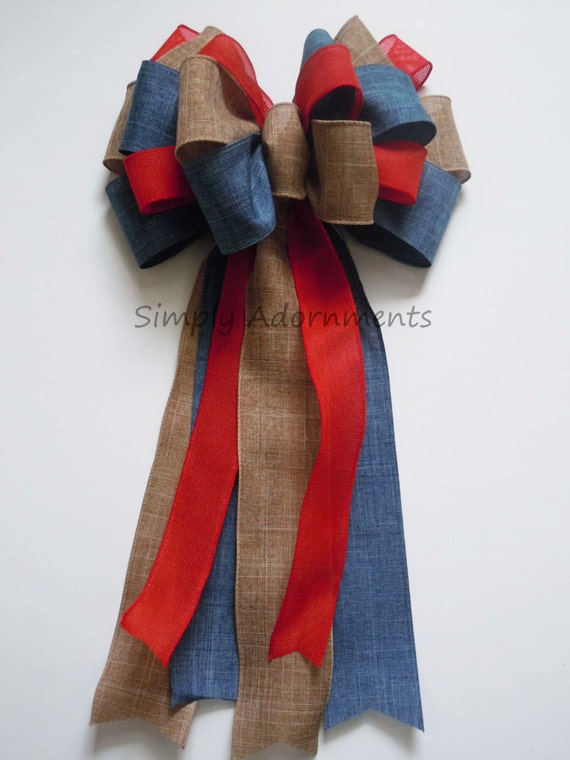 Rustic Red Blue Burlap Patriotic Wedding Pew Bow Fourth of July Bow Independence Day Bow Election Day Bow