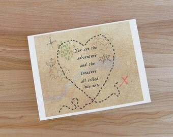 You Are The Adventure And The Treasure // Romantic Pirate Map Birthday, Valentine, Anniversary Card for Him or Her