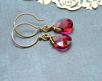 Ruby Red Earrings, Gold Fill Earrings, Crystal Teardrop Earrings, Valentines Day Gift, Swarovski Drop Earrings, Red Dangle Earrings