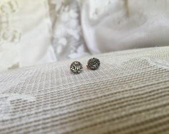 silver druzy/ drusy stud earrings,small stud earrings bridesmaid earrings flower girl earrings