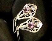 Elegant Drop Earrings in Sterling Silver .925 and Faceted Amethyst Stones