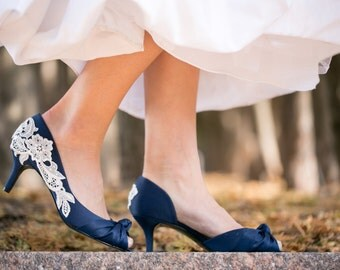 SALE Wedding Shoes - Navy Blue Heels, Navy Heels, Navy Bridal Shoes, Wedding Heels, Bridal Heels, Navy Shoes with Ivory Lace. US Size 6