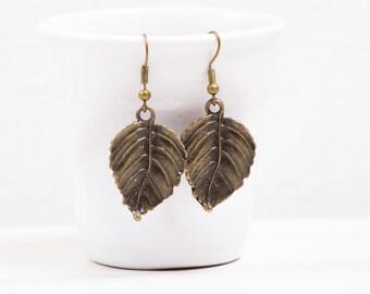 Leaf Earrings, Antiqued  Bronze Earrings, Bohemian jewelry,  Steampunk, Leaf jewelry, Boho Style