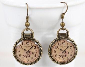Flowers Clock Earrings Simple Brass Clock Earrings Retro Clock Antique earrings Brass earrings Dangle Earrings Bronze Clock Earrings