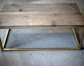Reclaimed Wood Coffee Table with Gold Base