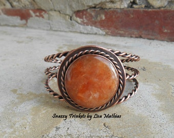 Orange Calcite Cuff, Stone Bracelet Cuff, Orange Calcite, Statement Bracelet, Brazilian Calcite, Copper Cuff, Unique Jewelry, Ready to Ship