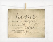 Personalized print, CUSTOMIZE your date, Home is Wherever I'm With You, Edward Sharpe, Engagement Gift, Wedding Gift, Typography Print