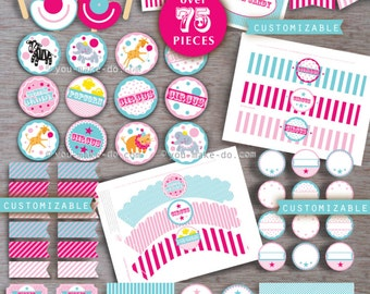 circus party, circus birthday, pink circus, circus party printables, circus baby shower, girl baby shower, girl birthday, 1st birthday girl