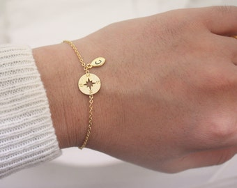 Personalized Compass Bracelet, sterling silver compass Bracelet,Personalized bracelet,best friend bracelet,initial bracelet,Nautical Jewelry