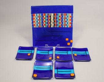Cobalt Blue Fused Glass Sushi Set -- 7 Piece Set
