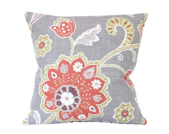 Designer Chartreuse and Faded Brick Red Flower Linen Pillow Cover