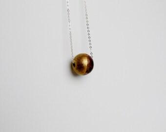 Gold Walnut Wood Sterling Silver Geometric Modern Necklace