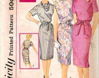 Vintage 1962 Simplicity 3780 One Piece Dress in Proportion Sizes Sewing Pattern Size 12 Bust 32""