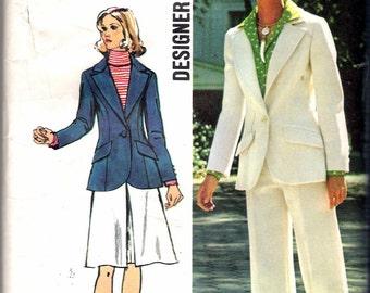 "Vintage 1972 Simplicity 5454 Designer Fashion Jacket, Skirt & Pants Sewing Pattern Size 12 Bust 34"""