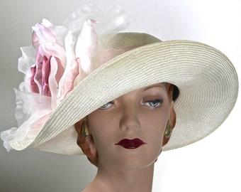 PINK DERBY HAT White and Pink Derby Hat Pink Kentucky Derby Hat Ivory Wedding Hat