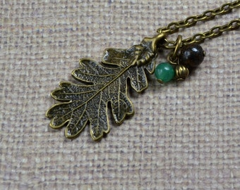 Rustic 3D Leaf Pendant Antique Bronze FREE Shipping Autumn Boho Oak Brown Green Bronzite Stone Aventurine Bohemian Necklace Fashion Jewelry