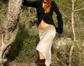 High to Low Skirt, Boho Skirt, Bohemian Feminine Skirt In Ivory, Powder Or Charcoal Gray
