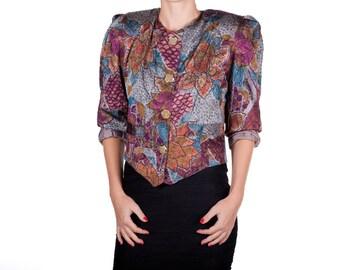 Vintage colorful jacket 80s look avantgarde womens size medium