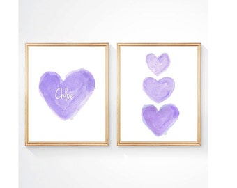 Purple Nursery Set of 2 - 8x10 Watercolor Heart Art, Lavender Nursery Decor, Personalized Nursery Art, Girls Room Decor, Girls Wall Art,